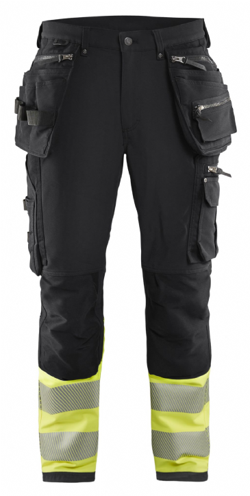 Blaklader 1993 4-Way Stretch Hi Vis Work Trousers (Black / Hi Vis Yellow)